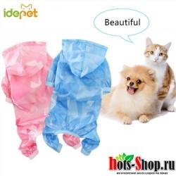 2018 летний водонепроницаемый плащ для собак для маленьких собак, летняя солнцезащитная одежда для собак, рубашка, футболка жилет, одежда йоркширских терьеров 3d35
