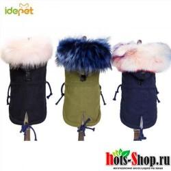 Теплая зимняя одежда Одежда для собак хлопковая ветровка воротник из искусственного меха пальто для собак Съемная Толстовка Куртка Паркера для щенка питомца 20