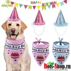 1 комплект кошек на день рождения шапки костюм для чихуахуа собаки шапка и шарф 3