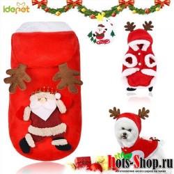Рождественская Одежда для собак зимнее теплое пальто куртка для маленьких Одежда для собак рубашка куртка праздничный костюм Рождественский наряд для кошек 45