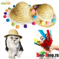 Собака бейсболка с кошкой летняя крутая модная соломенная шляпа на открытом воздухе невыгорающий котенок щенок для домашних животных аксессуары для маленьких собак и кошек пляжные Вечерние