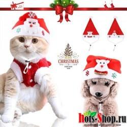 Рождественская шляпа для животных Санта Клаус шапка для собак маленький щенок кошка фестиваль костюм Лося кошачьи шапки загружены с рождественским украшением 30