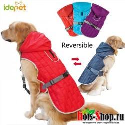 Зимнее теплое пальто для собак одежда водонепроницаемый плащ светоотражающая Двусторонняя одежда 25