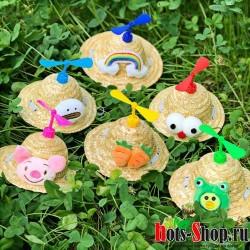 Симпатичная бамбуковая шапочка для домашних собак соломенная коса походов котят, аксессуары для домашних животных