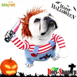 Костюмы для собак на Хэллоуин для средних и больших собак регулируемый костюм для костюмированной вечеринки, комические наряды с париком 35