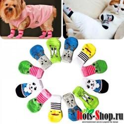 4 шт. носки для щенков нескользящие носки с рисунками из мультфильмов для маленьких собак 515240