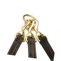 Кожаный тройной поводок из натуральной кожи для выгула, ручная работа, длина 40, 60, 80 см.. цвет черный